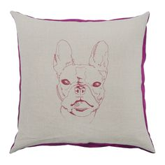 2014 Collection : Fuschia Bulldog. As both Designers at Joue Design are dog lovers, it's no surprise this print showed up! Striking fuchsia dupioni silk edges. #luxurycushion #throwpillow #fortheloveofdogs www.jouedesign.com