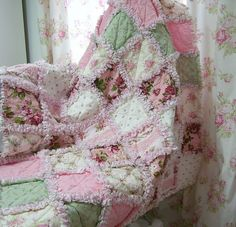 Shabby Pink Rose Rag Quilt - I love this quilt so much - I want to make something like this but in blue/cream for my room