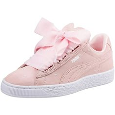 Puma Puma Suede Heart Valentine Junior Trainer (€74) ❤ liked on Polyvore featuring shoes, sneakers, puma footwear, puma sneakers, heart sneakers, suede trainers and heart shoes