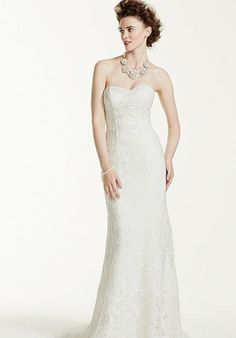 Strapless Lace Sheath Gown with Pearl Beading
