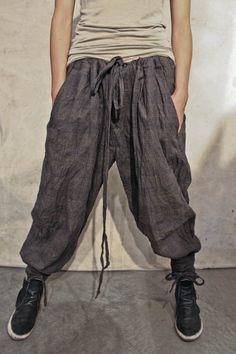 HEMP COTTON PLAID TIE WASTE AND WRAP BOTTOM PANTS