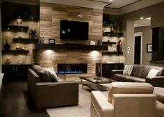 love the side shelves & fireplace