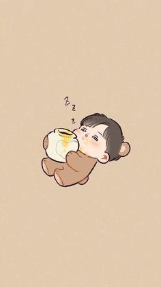 He's a precious baby bear Exo Chibi Chibi Wallpaper, Cartoon Wallpaper Hd, Bear Wallpaper, Kpop Exo, Exo Cartoon, Exo Anime, Exo Fan Art, Exo Lockscreen, Chanbaek