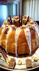 Fluffy hazelnut cake with icing and chocolate ., Food And Drinks, Fluffy hazelnut cake with icing and chocolate ! Greek Desserts, Greek Recipes, Sweet Loaf Recipe, Hazelnut Cake, Macaron Recipe, Piece Of Cakes, Caramel Apples, Yummy Cakes, How To Make Cake
