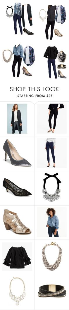 """""""4 outfits to look casual cool"""" by jxayres on Polyvore featuring Bordeaux, J.Crew, Sam Edelman, Adrianna Papell, BaubleBar, Bella Vita, Kendra Scott and Panacea"""