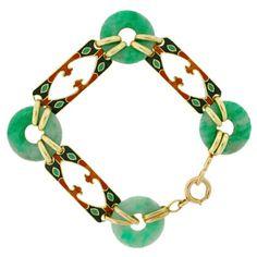 Art Deco 14kt Enamel & Carved Jade Link Bracelet, c, 1920