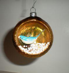 Set of Two Christmas Ornament - Handblown Vintage Diorama Mercury Glass Ornament