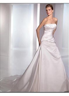 SEXY SATIN STRAPLESS A-LINE WEDDING DRESS LACE BRIDESMAID PARTY BALL COCKTAIL EVENING GOWN IVORY WHITE FORMAL PROM