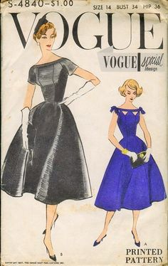 Vogue Special Design 4840; ©1957; One Piece Dress. Fitted dress flares from the waist-line. Wide low neck-line with shaped neckband. Cut outs below neckband, optional. Short sleeves and sleeveless with or without tied bows.