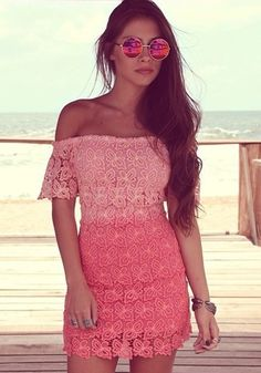 Rose Red Plain Hollow-out Off The Shoulder Boat Neck Lace Dress