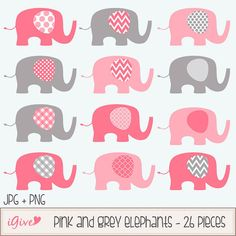 ON SALE 30 Pink and Grey Baby Elephants Clip Art Set  by igivelove, $2.10