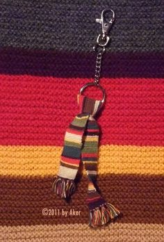 That's a miniature Doctor Who season 12 scarf I knitted as a keyring pendant for a friend.