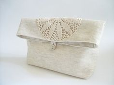Foldover Wedding Clutches, Shabby Chic Bridesmaids Gift Bags, Linen and Lace Purses, Set of 3 Country Wedding Gifts, by Persa bags $75,00