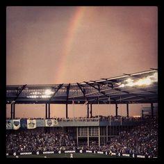 Beautiful rainbow at Sporting Park Sporting Kansas City, Soccer Guys, Rainbow, Park, Sports, Beautiful, Hs Sports, Rainbows, Rain Bow