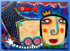 Tracey Ann Finley Original Outsider Raw Folk ACEO Painting Queen Mermaid Fish 1  #OutsiderArt