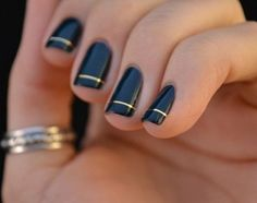 black with gold tape accent