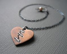 Heart on the Mend Mixed Metal Necklace