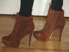 Me Wearing My Cognac Suede ALDO 'Sicilian' Lace-Up Platform Ankle Boots   Hot heels styles