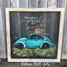 Vintage beetle , today anything is possible , original handmade screen art Old Window Projects, Art Projects, Old Window Crafts, Window Ideas, Painted Window Screens, Painting On Screens, Painted Window Art, Window Pane Art, Chalkboard Art