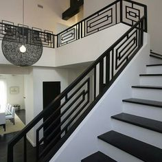 Wrought Iron Railings Designs Hungrylikekevin Com Creative Railing Design For Stairs - iron railing design for stairs Staircase Railing Design, Modern Stair Railing, Wrought Iron Stair Railing, Balcony Railing Design, White Staircase, Iron Staircase, Modern Stairs, Railing Ideas, Stair Banister