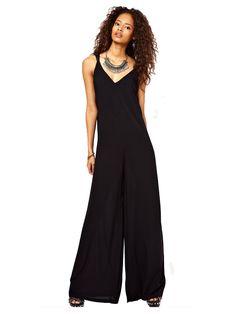Back Cut Out Full Length Sleeveless Women Black Jumpsuit
