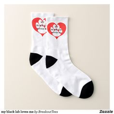Shop my black lab loves me socks created by BreakoutTees. Black Labrador Retriever, Dog Socks, Hunting Dogs, White Elephant Gifts, Wolfhound, The Lord