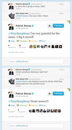 Patrick Stump replied to me on Twitter! Twice!!