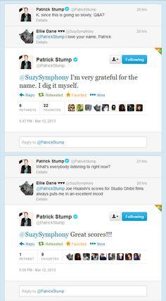 Patrick Stump replied to me on Twitter! Twice!!