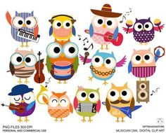 Musician owls Digital clip art for Personal and Commercial use Owl Classroom, Music Classroom, Classroom Decor, Owl Clip Art, Owl Art, Image Clipart, Beautiful Owl, Elementary Music, Cute Owl