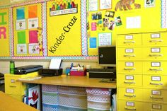 lots of bright colors and polka dots make for a happy classroom