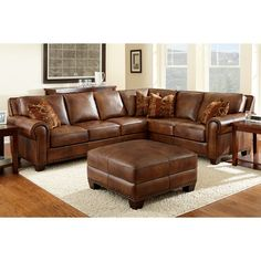 Helena Leather Sectional And Ottoman Costco Living Room Remodel Love