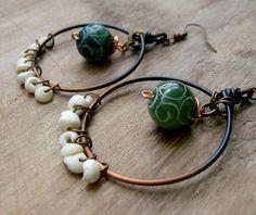 NATURAL Ombre  Dark Green Carved Jade & Hawaiian by stoneandbone