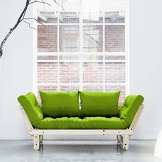 Beat Lime Futon With Natural Frame