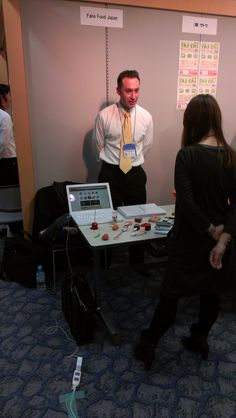 In this photo I'm speaking to an interested buyer at Sansokan's Business Matching Event held on November 19, 2012 in Osaka.
