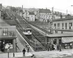 """Duluth, Minnesota, circa 1907. """"Up the incline railway from Superior Street."""" 8x10 inch dry plate glass negative, Detroit Publishing Company."""