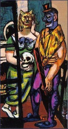 Max Beckmann (German, 1884-1950), Masquerade, 1948. Oil on canvas, 164.6 x 88.7 cm
