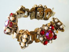 Rhinestone Bracelet Red AB's Vintage Etruscan Heavy by LakeBreezes, $42.00