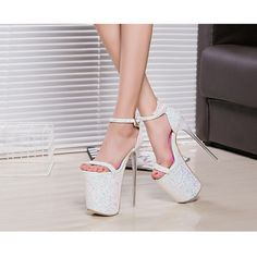 Women's Style Sandal Shoes Lillian White Glitter Super Stiletto Heels Platform Sandal Heels Ankle Strap Platform HeelsStripper Heels Women's Summer and Fall Outfits Fashion Style Outfits for Party, Night club, Dancing club | FSJ