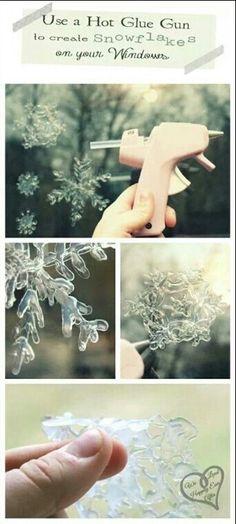Hot glue snow flakes