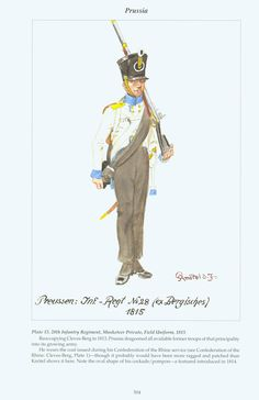 Prussia: Plate 15. 28th infantry Regiment. Musketeer Private, Field Uniform, 1815