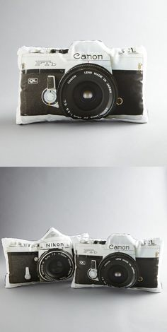 Camera throw pillows
