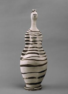 Pablo Picasso (Spanish, Vase: Woman Vallauris, White earthenware, painted with slips 18 x 6 x 4 in. x x 11 cm) Musée national Picasso–Paris. Image © 2015 Estate of Pablo Picasso/Artists Rights Society (ARS), New York. Pablo Picasso, Kunst Picasso, Art Picasso, Georges Braque, Moma, Ceramic Pottery, Pottery Art, Pottery Ideas, Cubist Movement