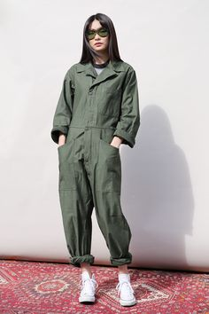 Vintage Military Boiler Suit Green - Jumpsuits & Playsuits - Women | Mint Vintage
