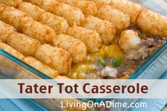 Our family's favorite! Looking for an easy and inexpensive dinner you can make ahead? You can mix up this Tater Tot Casserole Recipe in less than 5 minutes for less $2.50 for the entire family! Click here to get this yummy #recipe http://www.livingonadime.com/tater-tot-casserole/