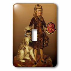 3dRose Pretty Little Girl with a Fluffy Dog and a Bouquet of Red Roses, 2 Plug Outlet Cover