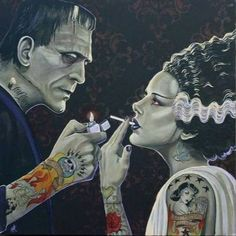 welcome2creepshow:  The Bride and Frankenstein Artwork by Artist Mike Bell