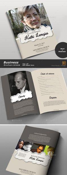 Funeral Program Brochures, Brochure template and Graphics - funeral brochure template