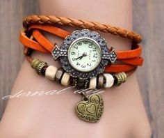 Heart watch leather wrapped bracelet table men and by eternalDIY, $12.59