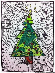 Christmas doodles art lesson