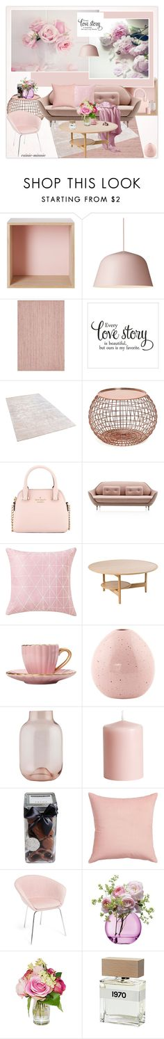 """Pink Roses for Valentine's day"" by rainie-minnie on Polyvore featuring interior, interiors, interior design, home, home decor, interior decorating, Muuto, Chandra Rugs, Kate Spade and Ercol"